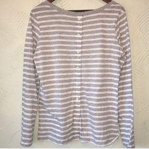 Splendid Grey Striped Button Back Long Sleeve